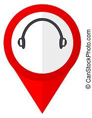 Headphones red web pointer icon. Webdesign button on white ...