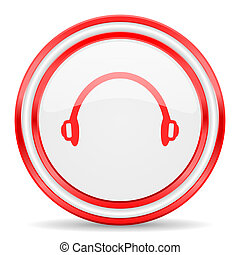 headphones red white glossy web icon - red web button on ...