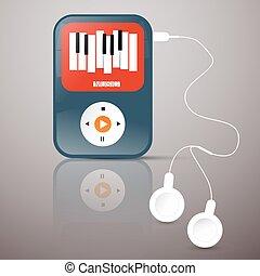 headphones., resumen, player., screen., ilustración, jugador, vector, música, mp3, símbolo de teclado, abstact
