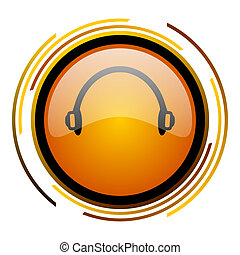 headphones round design orange glossy web icon