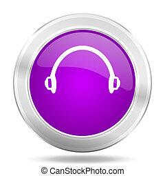 headphones round glossy pink silver metallic icon, modern ...