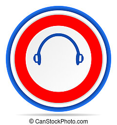 Headphones round icon, red, blue and white french design illustration for web, internet and mobile applications