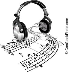 Headphones sheet music notes concept - Music streaming from ...