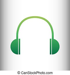 Headphones sign. Green gradient icon