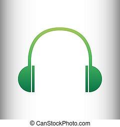 Headphones sign. Green gradient icon