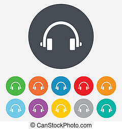 Headphones sign icon. Earphones button. Round colourful 11...