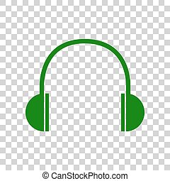 Headphones sign illustration. Dark green icon on transparent background.