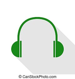 Headphones sign illustration. Green icon with flat style shadow path.