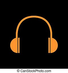 Headphones sign illustration. Orange icon on black background. Old phosphor monitor. CRT.