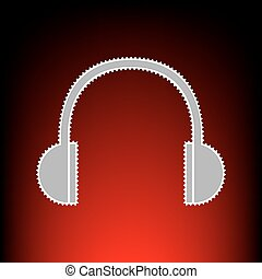 Headphones sign illustration. Postage stamp or old photo style on red-black gradient background.