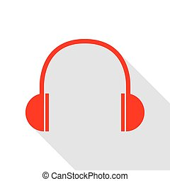 Headphones sign illustration. Red icon with flat style shadow path.