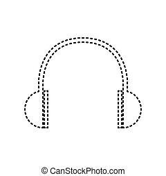 Headphones sign illustration. Vector. Black dashed icon on white background. Isolated.
