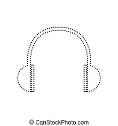 Headphones sign illustration. Vector. Black dotted icon on white background. Isolated.