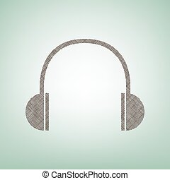 Headphones sign illustration. Vector. Brown flax icon on green background with light spot at the center.