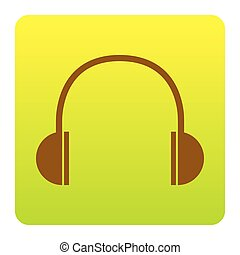 Headphones sign illustration. Vector. Brown icon at green-yellow gradient square with rounded corners on white background. Isolated.