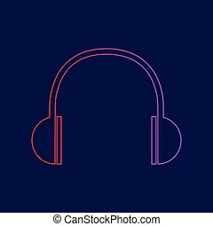 Headphones sign illustration. Vector. Line icon with gradient from red to violet colors on dark blue background.