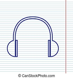 Headphones sign illustration. Vector. Navy line icon on notebook paper as background with red line for field.