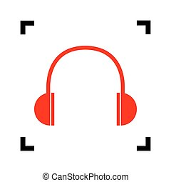 Headphones sign illustration. Vector. Red icon inside black focus corners on white background. Isolated.