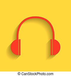 Headphones sign illustration. Vector. Red icon with soft shadow on golden background.