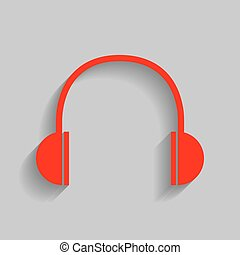Headphones sign illustration. Vector. Red icon with soft shadow on gray background.