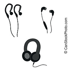 headphones silhouette - black silhouettes of the three...