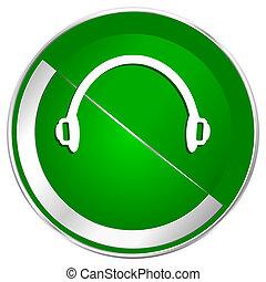 Headphones silver metallic border green web icon for mobile ...