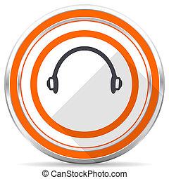 Headphones silver metallic chrome round web icon on white ...
