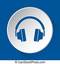 headphones - simple blue icon on white button
