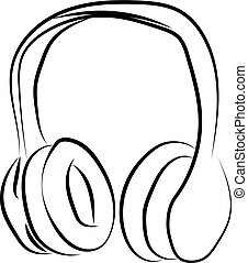 Headphones sketch, illustration, vector on white background.