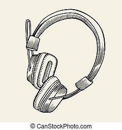 headphones sketch vector illustration