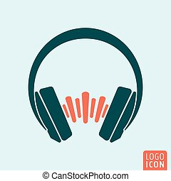 Headphones sound wave - Headphones icon. Headphones with...