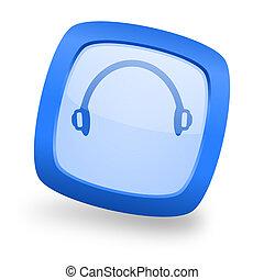 headphones square glossy blue web design icon - headphones ...