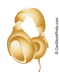 Headphones - The image of headphones gold colour on white...