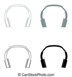 Headphones the black and grey color set icon .