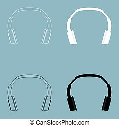 Headphones the black and white color icon .