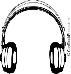 Headphones vector illustration on white background