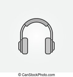 Headphones vector minimal grey icon