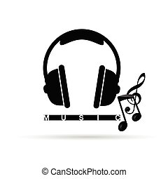 headphones vector with music notes art illustration