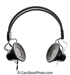 Vintage headphones on white background