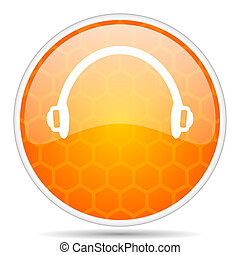 Headphones web icon. Round orange glossy internet button for webdesign.