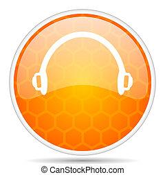 Headphones web icon. Round orange glossy internet button for webdesign.