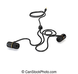 Headphones with a black cable isolated on white background. 3d illustration.
