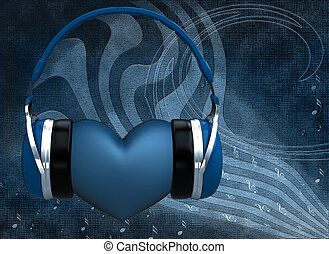 Headphones with a heart on the abstract background