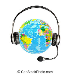 Headphones with a microphone and a globe