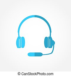 Headphones with a microphone headset icon