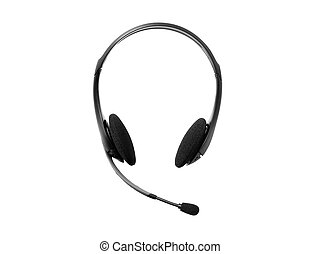 headphones with a microphone on white