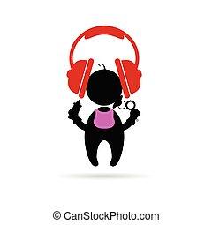 headphones with baby vector