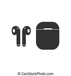 Headphones with case black icon.
