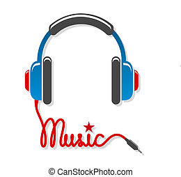 Headphones with cord and word music isolated vector illustration
