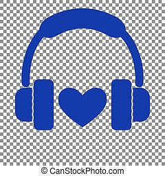 Headphones with heart. Blue icon on transparent background.